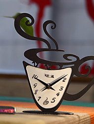 "14""H Modern Style Coffee Cup Shape Iron Tabletop Clock"