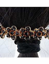 Moda Hermosa aleación con Cristal Negro de flores de las horquillas de la Mujer