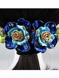 Fashion Beautiful Alloy Blue Flower Hairpins for Women