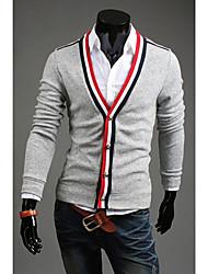 Homens DJJM Lazer Moda New Knitting Personalidade Cardigan Casaco Botões camisola (Gray)