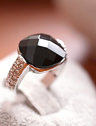MISS U Women's Black Square Agate Crystal Ring