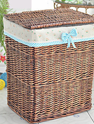 Classic Tall Brown Rattan Storage Basket with Cherry Pattern Lining
