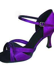 Women's Dance Shoes Performance/Latin/Salsa Satin Heel Black/Purple Customizable