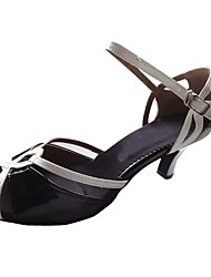 Customizable Women's Dance Shoes Latin/Ballroom Patent Leather Customized Heel Black