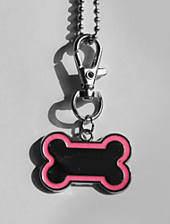 Personnalisé os Cadeau Forme rose et noir Animal Id Name Tag avec la chaîne pour chiens