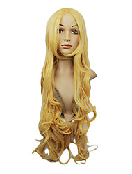 High Quality Synthetic Japanese Kanekalon Capless Synthetic Long Wavy Golden Party Wig