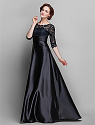 Lanting A-line Plus Sizes / Petite Mother of the Bride Dress - Black Sweep/Brush Train Half Sleeve Lace / Stretch Satin