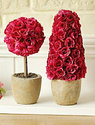 """10.25 """"H Modern Style Rose em vaso de cerâmica Set"""