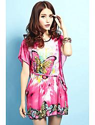 Damen Sommer-Flügel-Seidenkleid mit Gürtel