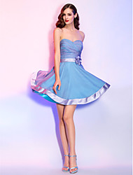 A-Line Princess Sweetheart Short / Mini Chiffon Stretch Satin Cocktail Party Homecoming Holiday Dress with Flower(s) Criss Cross Ruching