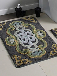 Bath Rug 1-Piece Set Modern Gray Color Floral Print