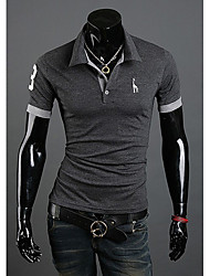 LJCP Trendy Deer Pattern Short Sleeve Polo Shirt(Dark Gray)