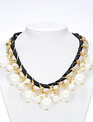Rich Long Women's Big Pearl Weaving Necklace With Earring
