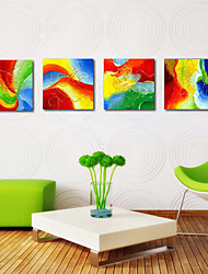 Stretched Canvas Print Art Abstract Rainbow Set of 4