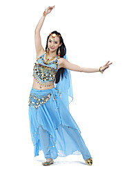 Belly Dance Outfits Women's Training Chiffon Beading Coins Sequins 4 Pieces Sleeveless Top Skirt Hip Scarf Headpieces