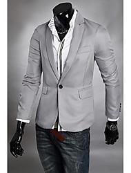 Men's Solid Casual / Formal Blazer,Cotton Blend / Wool Blend Long Sleeve Black / Blue / Gray
