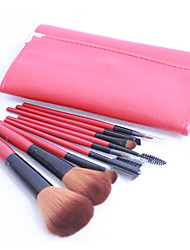 Pro 9 PCs Nylon Hair Makeup Brush Set with Red Pouch