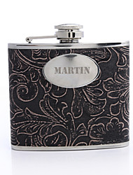 Personalized Gift Flower Pattern 5oz PU Leather  Flask