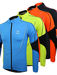 Arsuxeo Cycling Jacket Men's Bike Jersey Tops Thermal / Warm Fleece Lining Breathable Polyester Fleece Patchwork Leisure Sports