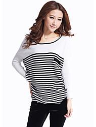 Negro-blanca de manga larga suéter del suéter de la Mujer MIUSOL