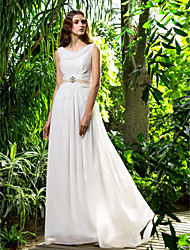Sheath/Column Plus Sizes Wedding Dress - Ivory Sweep/Brush Train Cowl Chiffon