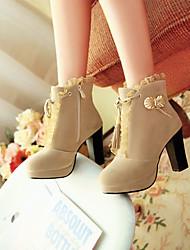 TASHA Frauen Dull polnischen Kunstwoll Creme Metall Dekoration Tassel Dull polnischen High Heel Stiefel
