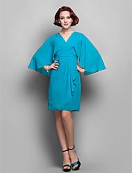 Robe de Mère de Mariée - Vert de Jade Fourreau Longueur genou Manche 3/4 Mousseline polyester Grandes tailles