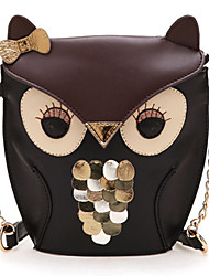 Women's Lady Splicing Color Cross Body Bag Owl Pattern