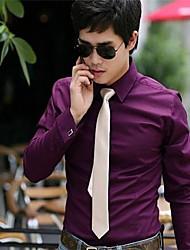 Robe chemise d'affaires de loisirs de Men Pure Top hommes de couleur manches longues