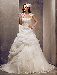 Lanting Ball Gown Plus Sizes Wedding Dress - Ivory Sweep/Brush Train Strapless Tulle/Lace