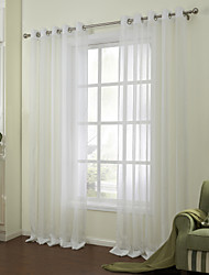 Modern Two Panels Solid White Bedroom Linen/Polyester Blend Sheer Curtains Shades