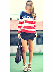 Women's Fashion Lovers Loose Top Knit Sweater American Flag Star Stripe Pullover Jumper