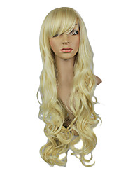 High Quality Synthetic Japanese Kanekalon Platinum Blonde Long Wavy Synthetic Hair Capless Wig