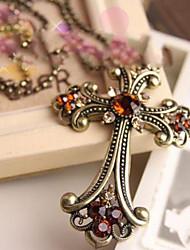 MISS U Frauenkreuz in Bronze Strickjacke-Halskette