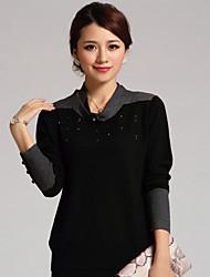 Shedeile suéter de lana de moda (Negro)
