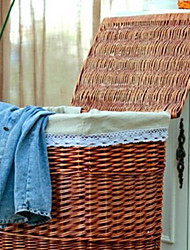 Classic Tall Brown Rattan Laundry Basket with Grey Lining