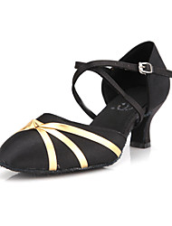 Non Customizable Women's Dance Shoes Modern/Ballroom Satin Stiletto Heel Black
