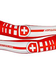KOOPLUS - Swiss National equipe de poliéster + Lycra Vermelho + Branco Ciclismo falso punho