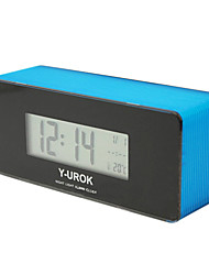 "2.36""H Thermometer Alarm Clock with Calender"