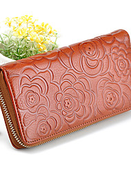 Mega Fashion Rose Pattern Leather Long Wallet