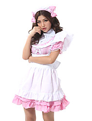 Sweet Girl Pink & White Polyester Maid Uniform
