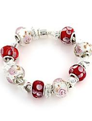 Vermelho, branco Cristal Strand Pulseira de 6,3 centímetros doces Mulheres (1 Pc)