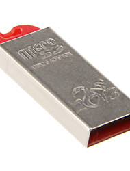 Mini USB Memory Card Reader (zilver + rood)