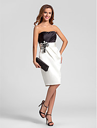 LAN TING BRIDE Knee-length Strapless Bridesmaid Dress - Color Block Sleeveless Satin
