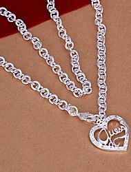 Fashion Heart Pendant Silver Plated Pendant Necklace (1 Pc)