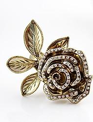 Das Kayshine Mulheres Rose Pattern enchido diamante Estilo Vintage Anel Alloy