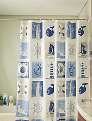 "Shower Curtain Modern Blue Ship Print Water-resistant W71"" x L71"""