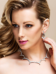 Shining Czech Rhinestones With Alloy Plated Wedding Jewelry Set,Including Necklace And Earrings
