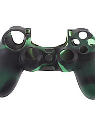 Pele de silicone caso e 2 Grips Preto Polegar da vara para PS4 (verde + preto)