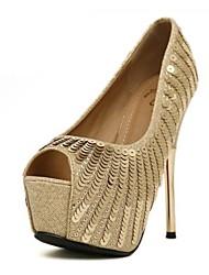 Espumante Glitter Stiletto Heel Peep Toe Calçados Partido (mais cores)